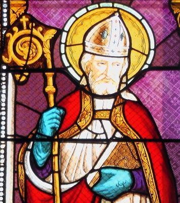 detail of a stained glass window of Saint Albinus of Angers; date unknown, artist unknown; church of Saint-Aubin, Landes, France; photographed on 23 December 2014 by Jibi44