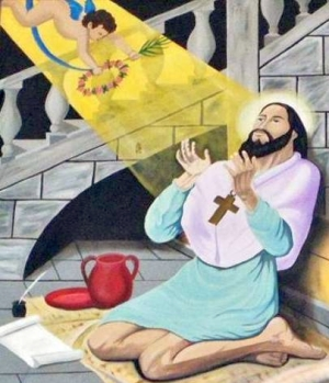 image of Saint Alexis Falconieri receiving a vision, date unknown, artist unknown; Saint Alexis Falconieri Chapel, Ixtapan de la Sal, Mexico State, Mexico; photographed on 10 February 2012 by Enrique López-Tamayo Biosca; swiped off Wikimedia Commons