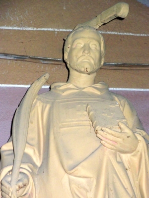 statue of Saint Andeolus in the church of Saint-Andéol-de-Vals; sculptor unknown; photographed on 8 October 2010 by CUBALIBRE2; swiped from Wikimedia