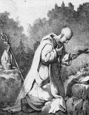 detail from the illustration 'Saint Anthelm of Belley, pray for us', 1854, artist unknown; swiped off Wikimedia Commons