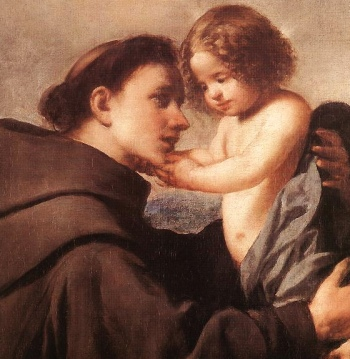 detail of the painting 'Saint Anthony of Padua with Christ Child by Antonio de Pereda, early 17th century; oil on canvas; Museam of Find Arts, Budapest, Hungary; swiped from Wikimedia Commons