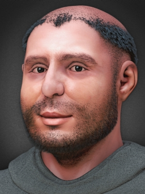 a verson of the 2014 computer based forensic reconstruction of the face of Saint Anthony of Padua based on a digital version of his skull; swiped from Wikimedia Commons