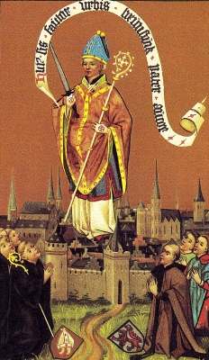 detail of a painting of Saint Autor of Metz, 1460, artist unknown; swiped from Wikimedia Commons
