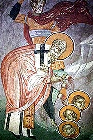 18th century fresco of the martyrdom of Saint Babylas of Antioch, artist unknown; swiped from Wikimedia Commons