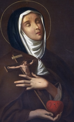 detail of a portrait of Saint Clare of Montefalco, 17th century, artist unknown; swiped off the Wikimedia Commons