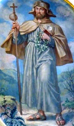 Detalj av en freske av den hellige Koloman i kollegiatskirken i Klosterneuburg i Niederösterreich, dato og kunstner ukjent
