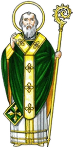 illustration of Saint Costanzo of Capri from the coat of arms for the city of Capri, Italy, date and artist unknown