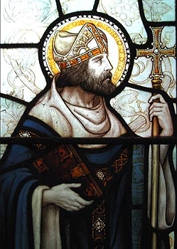 19th century stained glass window of Saint Dubricius of Wales, artist unknown