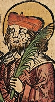 detail of an illustration of Saint Epimachus of Rome from the Nuremberg Chronicle, 1493