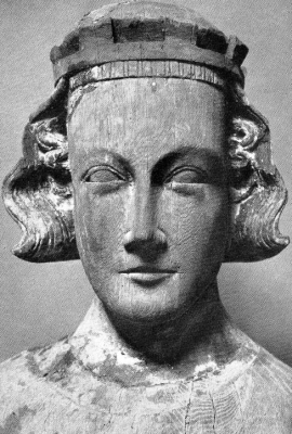 wooden bust of Saint Eric of Sweden, c.1400, artist unknown, Roslagsbro church, Stockholm, Sweden