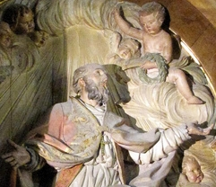 detail of a bas-relief statue of Saint Euphrasius, altarpiece at Jaén Cathedral, 18th century; photo taken by Bocachete in August 2006; swiped off Wikipedia