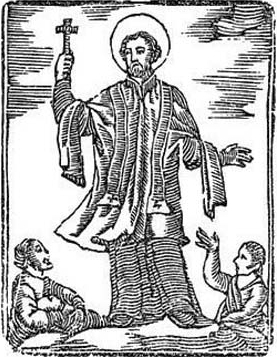 woodcut of Saint Eusebius of Rome, date and artist unknown; swiped from Santi e Beati