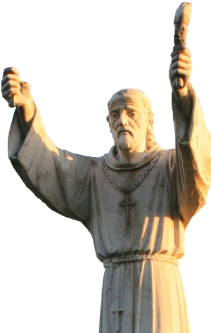 detail of a statue of Saint Fininan of Clonard; by the Studi Nicoli workshop in Italy, date unknown; Clonard, County Meath, Ireland; photographed on 26 August 2007 by Andreas F. Borchert; swiped from Wikimedia Commons