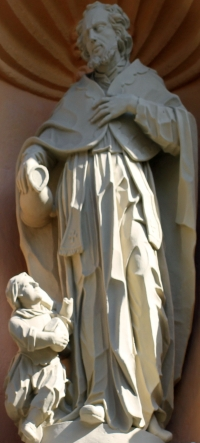 statue of Saint Florinus of Remüs with his wine jug, date and artist unknown; south portal, church of Saint Florin, Koblenz, Germany; photographed in May 2013 by Willy Horsch; swiped from Wikimedia Commons