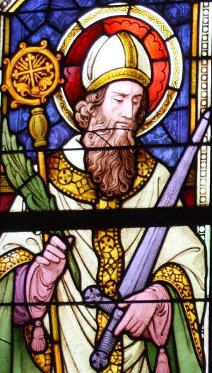 detail of a stained glass window of Saint Frederick of Utrecht; c.1847, artist unknown; parish church of Siant Michael, Mayen-Koblenz, Germany; photographed on 15 September 2012 by GFreihalter; swiped from Wikimedia Commons