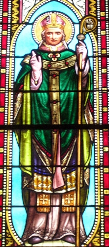 detail of a stained glass window of Saint Galactoire, date and artist unknown; church of Our Lady of the Assumption, Mimizan-Bourg, Landes, France; photographed by Jibi44; swiped from Wikimedia Commons