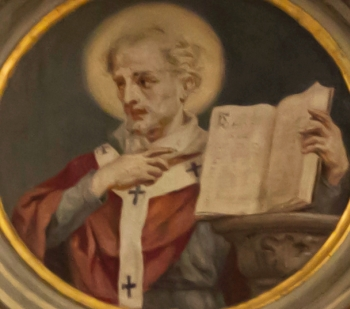 painted rondo of Saint Gerontius of Milan; by Casimiro Radice and Giovanni Valtorta, latter 19th-century; Basilica di San Nicolò, Lecco, Italy; photographed on 16 February 2013 by A ntv; swiped from Wikimedia Commons