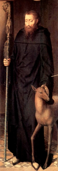 detail of a painting of Saint Giles; by Hans Memling, 1491; oil on panel, altar triptych, Cathedral of Lübeck, Germany; now in the Sankt-Annen-Museum, Lübeck, Germany; swiped from Wikimedia Commons; click for source image