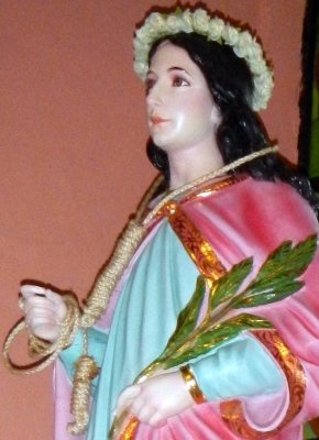 detail of a statue of Saint Godelieve, National Cultural Treasure, Binondo Church, Chinatown, Binondo, Manila; photographed on 24 January 2014 by Ramon FVelasquez; swiped off Wikimedia Commons