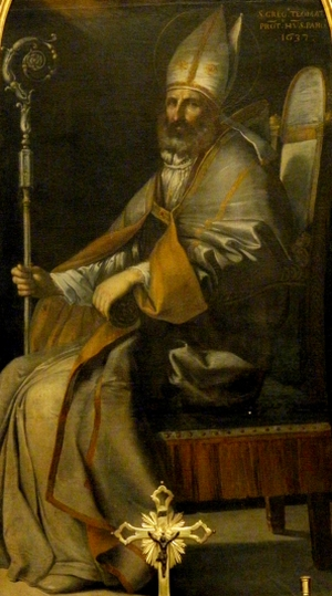 detail of a painting of Saint Gregory Thaumaturgus; date unknown, artist unknown; San Gregorio side altar, parish church of Our Lady of the Rosary, Concadirame, Italy; photographed on 21 June 2012 by Threecharlie; swiped from Wikimedia Commons