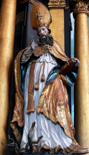 statue of Saint Hilaire of Poitier; by Franz Anton Koch, 1742; Saint Michael parish church, Mondsee, Upper Austria; photgraphed on 11 May 2009 by Wolfgang Sauber; swiped from Wikimedia Commons
