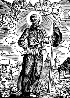 antique illustration of Saint Himelin; date unknown, artist unknown; Vissenaken, Tienen, The Flanders, Belgium; uploaded on 26 December 2005 by Edelhart Kempeneers; swiped from Wikimedia Commons