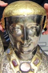 head reliquary of Saint Jacob of Nisibis; date and artist unknown; museum of the cathedral of Hildesheim, Germany; photographed on 7 December 2011 Bischöfliche Pressestelle Hildesheim; swiped from Wikimedia Commons