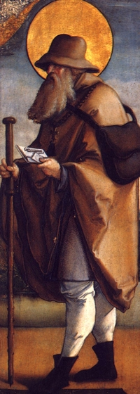 detail of a painting of Jodokus; c.1537 by Meister von Meßkirch; side altar, Saint Martin's Church, Meßkircher, Germany; swiped from Wikimedia Commons; click for source image