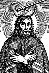"""detail from an illustration of Blessed Jehoshaphat Kuntcevich; 1665, artist unknown; from the book 'Life and Martyrdom of the Blessed Jehoshaphat Kuntsevych"""", Rome, Italy; swiped from Wikimedia Commons"""