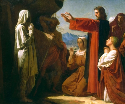 detail of the painting 'The Raising of Lazarus'; by Léon Bonnat, 1857; swiped from Wikimedia Commons