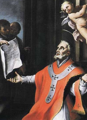 detail of a painting of Saint Libertine of Agrigento receiving a document from Saint Peter the Apostle, date and artist unknown; swiped from Wikimedia Commons