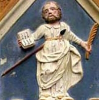 detail of a bas-relief Saint Luciano of Cagliari, date and artist unknown; swiped from Santi e Beati