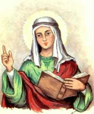 detail of a holy card of Saint Macrina by Bertino, date unknown