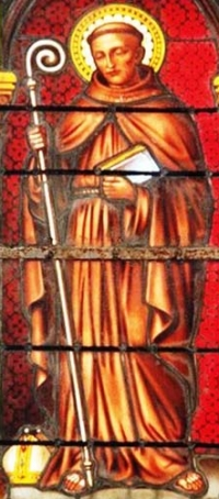 detail of a stained glass window of Saint Mewan of Bretagne, location, date and artist unknown; swiped from Santi e Beati; click for source image