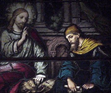 photograph of a stained glass window of Saint Nicodemus learning from Jesus, Saint Joseph's Cathedral, Macon, Georgia, USA; artist unknown; photographed by the author, summer 2003