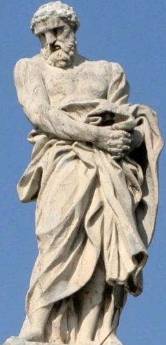 statue of Saint Nilammon of Geris by Lazzaro Morelli c.1668; top of Saint Peter's Cathedral, Rome, Italy