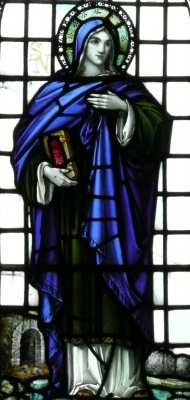 detail of a stained glass window of Saint Non, artist unknown; Saint Non's Chapel, Saint Non's Bay, Wales