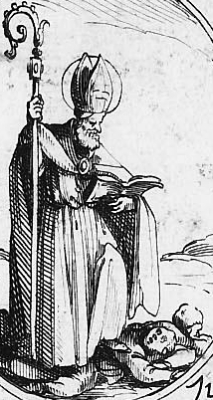 illustration of Saint Optatus of Milevis, 1636, artist unknown
