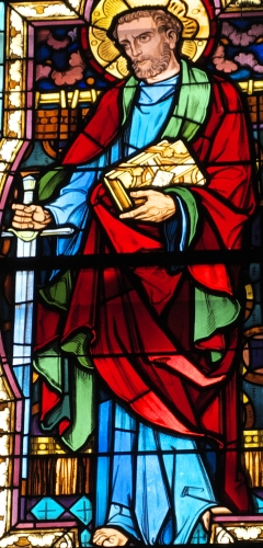 detail of a stained glass window of Saint Paul the Apostle, date and artist unknown; parish church of Saint-Pierre et Saint-Paul, Pfaffenhoffen, Bas-Rhin, France; photographed on 20 March 2016 by GFreihalter; swiped from Wikimedia Commons