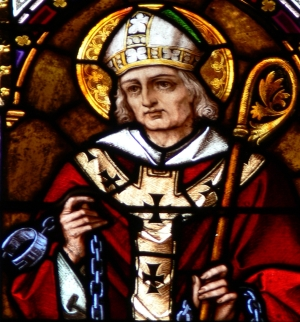 detail of a stained glass window of Saint Paulinus of Nola, cathedral of Linz, Austria; artist unknown, date unknown; photographed by Wolfgang Sauber on 14 March 2009; swiped off Wikipedia