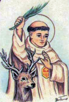 detail of an Italian holy card of Saint Pierre de Cervis by Bertoni, date unknown; swiped off Santi e Beati; click for source image; 'de Cervis' means 'of the stag'