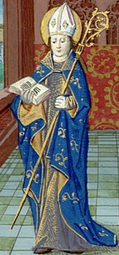 illustration of Saint Privatus of Mende from the Croy book of Hours, 15th century by Simon Liboron; Bibliothèque de l'Assemblée Nationale, Paris; swiped from Christian Iconography
