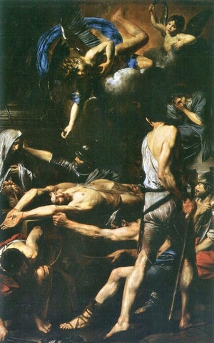 a painting of the martyrdom of Saint Processus and Saint Martinianus; Valentin de Boulogne, 1630; swiped from Wikimedia Commons