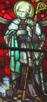 detail of a stained glass window of Saint Teilo of Llandaff, date and artist unknown; photographed on 24 May 2011 by Gwenddwr; swiped from Wikimedia Commons