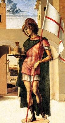 San Terenzio, by Giovanni Bellini, Pesaro Altarpiece, 1471-1474, Museo Civico,  Pesaro, Italy; swiped off Wikipedia