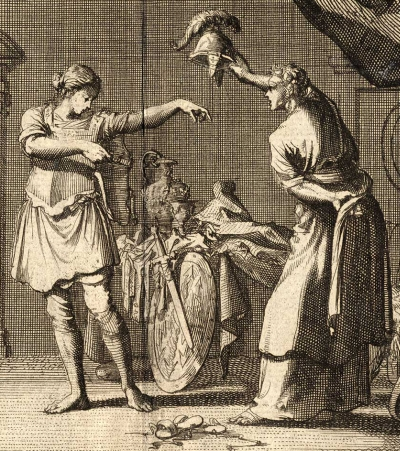 detail of a print of Saint Theodora and Saint Didymus exchanging clothes in the brothel; 1712 by Jan Luken; swiped from Wikimedia Commons