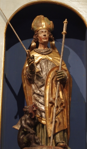 statue of Saint Theodule of Grammont, chapel of Saint Theodule, Île d'Ogoz, Switzerland; date and artist unknown; photographed on 26 October 2015 by Traumrune; swiped from Wikimedia Commons