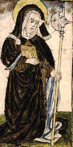 detail from a coloured pen-and ink-drawing c.1433; it is the oldest known portrayal of Saint Wiborada; it is found in a book written for the nuns in the Benedictine convent of Saint Georgen near Saint Gall; manuscript written and perhaps painted by the monk Friedrich Kölner from Hersfeld