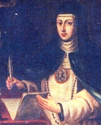 17th century portrait of Sister María de Jesús de Agreda, artist unknown; swiped off Wikimedia Commons