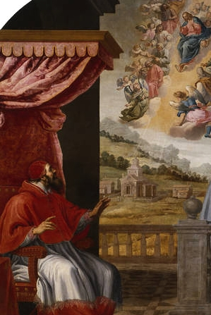 detail of the painting 'Viction of Pope Victor III', by Vincenzo Carducci, c.1629; swiped from Wikimedia Commons